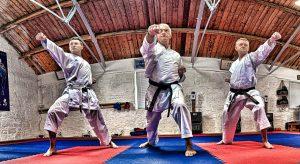 Karateka demonstrating punches